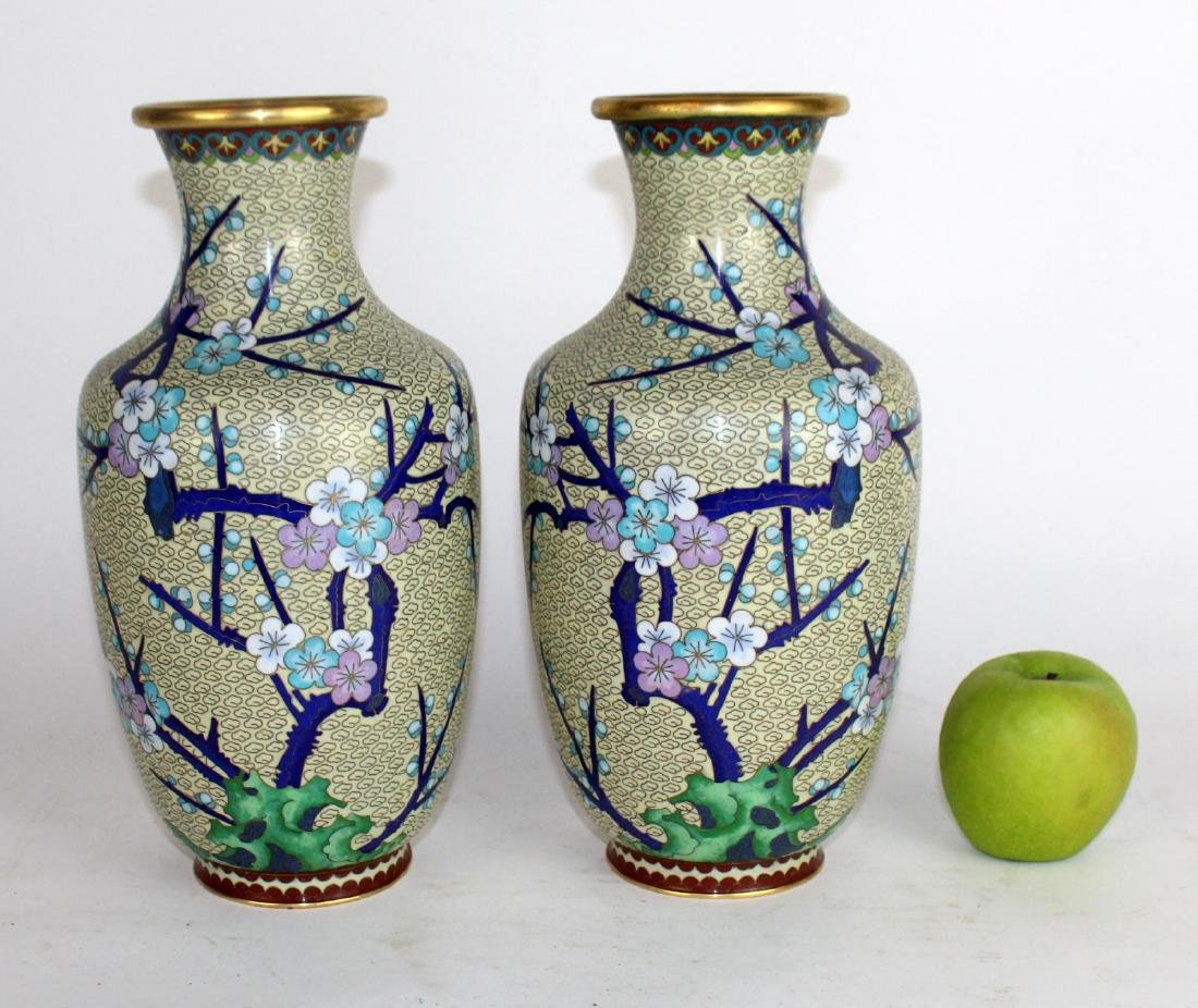 A pair of Japanese cloisonne vases