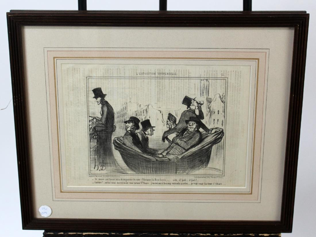 Framed French political cartoon print