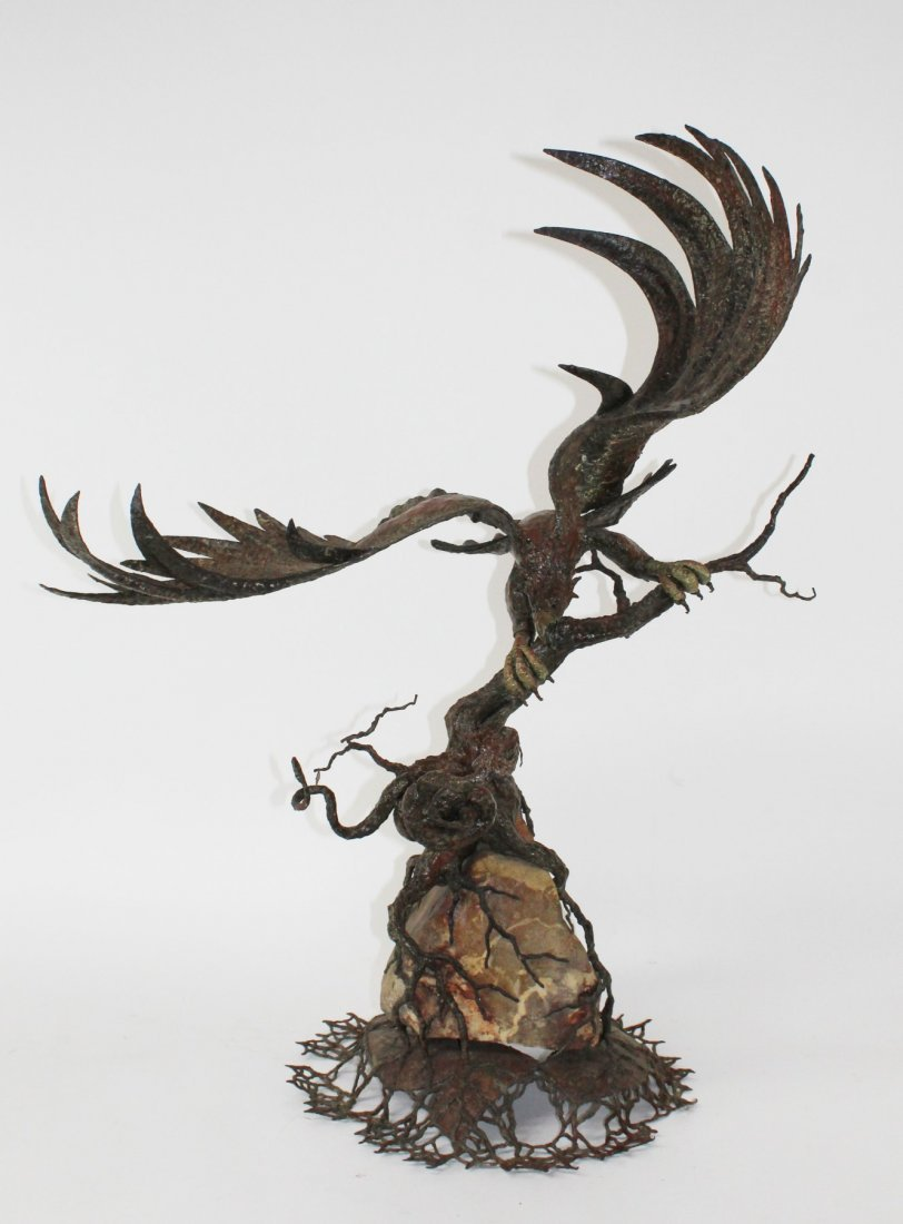 """Showdown"" Original iron eagle sculpture"