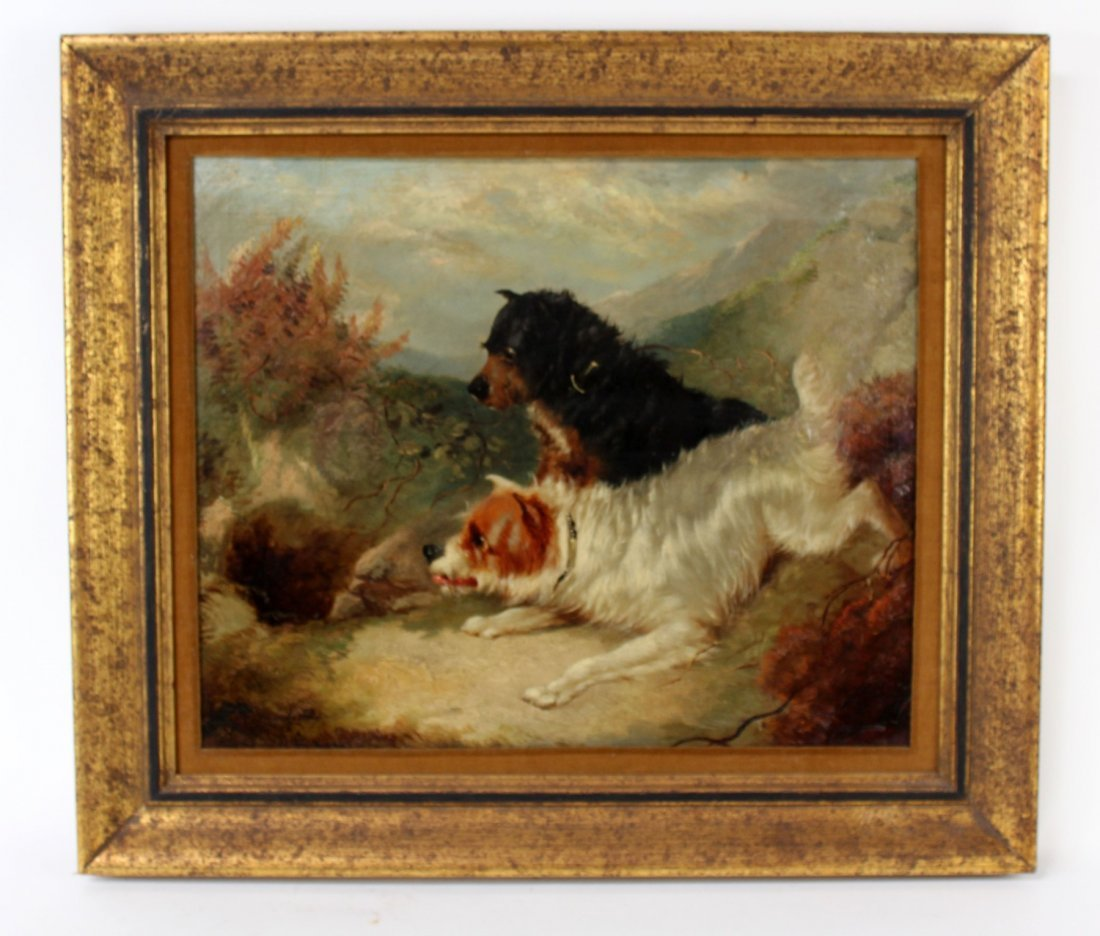 English George Armfield oil on canvas depicting dogs
