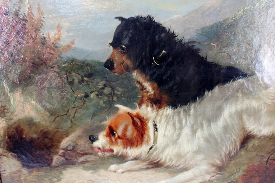 English George Armfield oil on canvas depicting dogs - 4