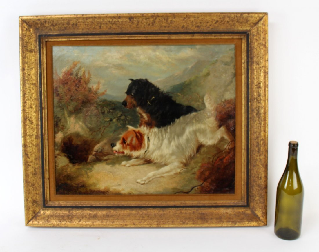 English George Armfield oil on canvas depicting dogs - 7