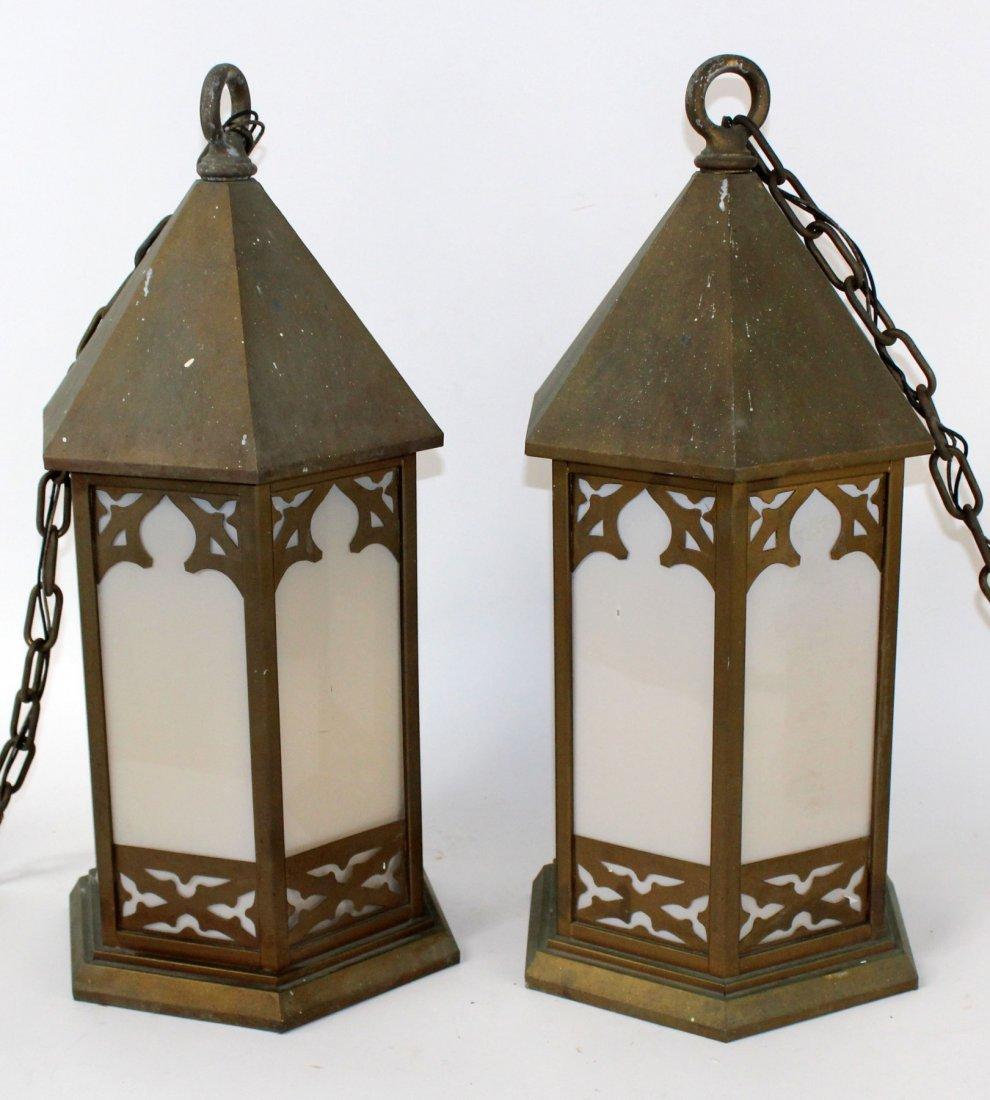 Pair of Art Deco brass theater lanterns