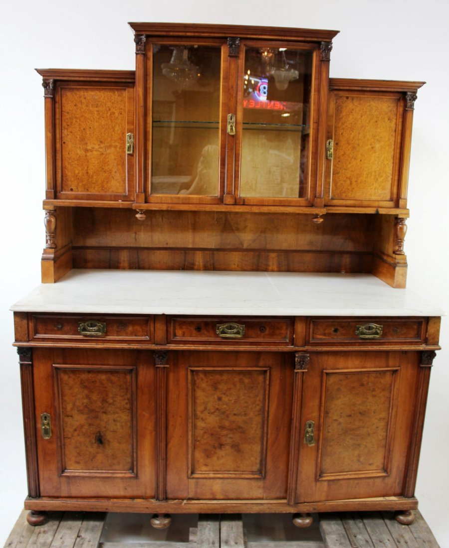 Antique Austrian buffet with marble top