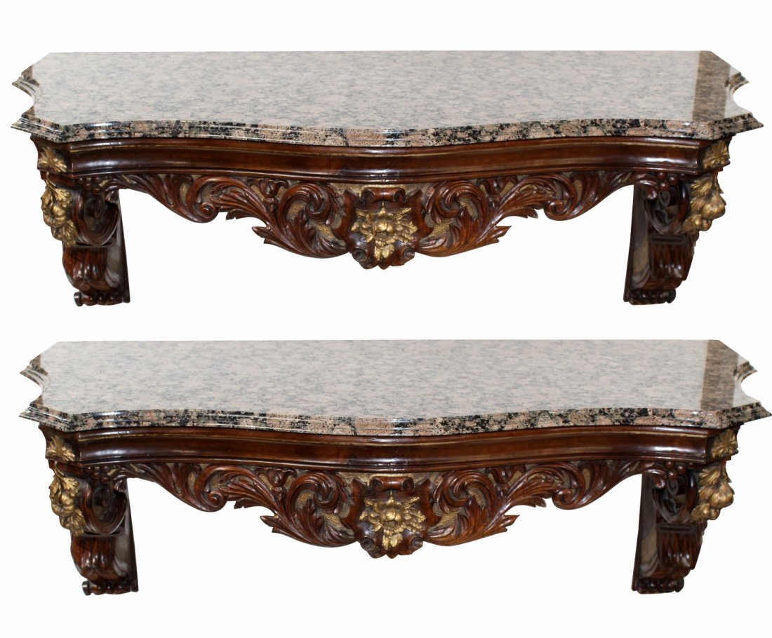 Pair of French  Louis XV style wall mount consoles