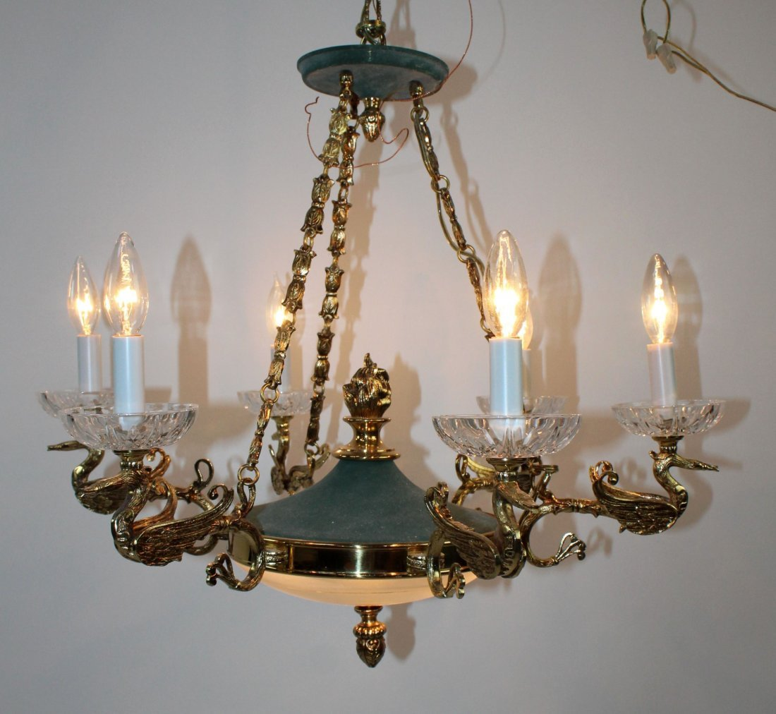 Empire style 6 arm chandelier