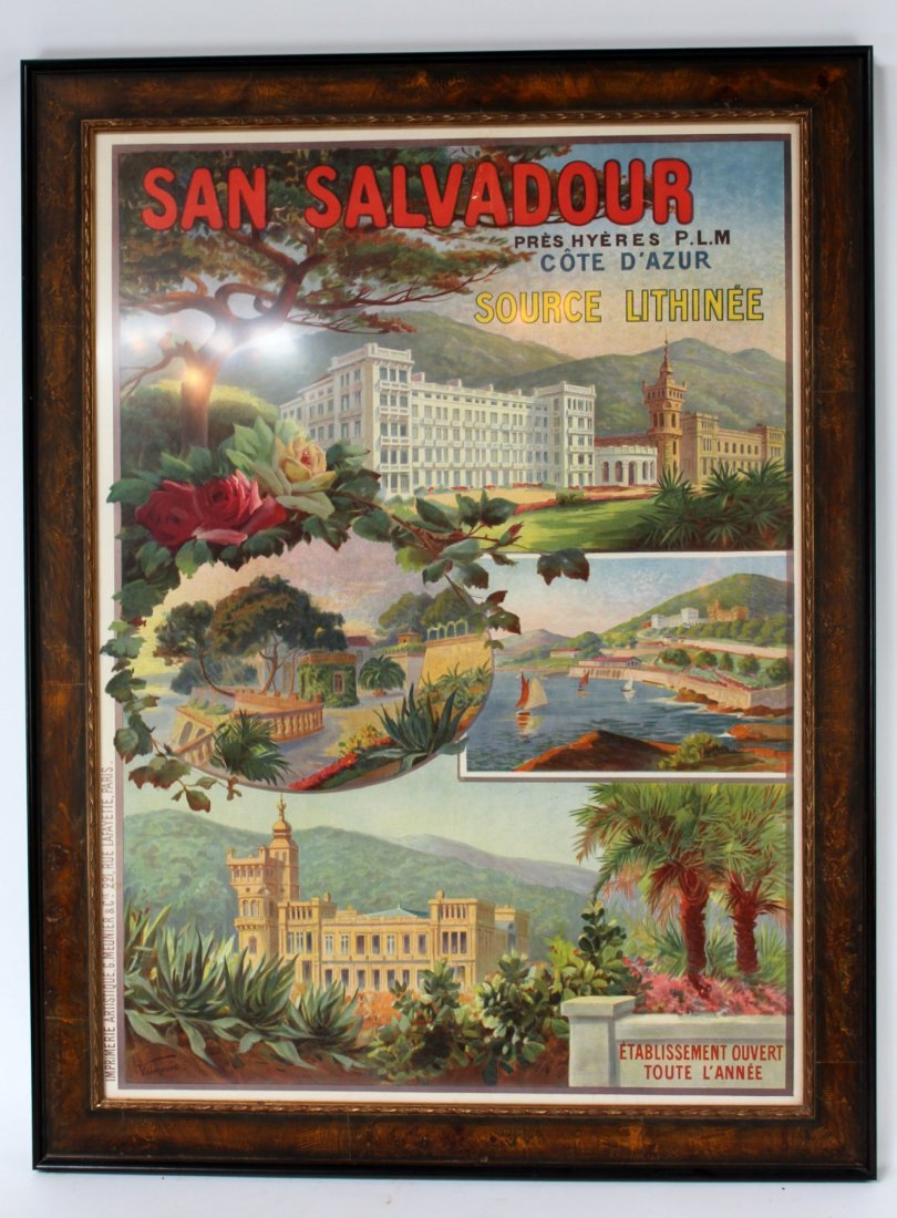 "Vintage French ""San Salvadour"" framed poster"