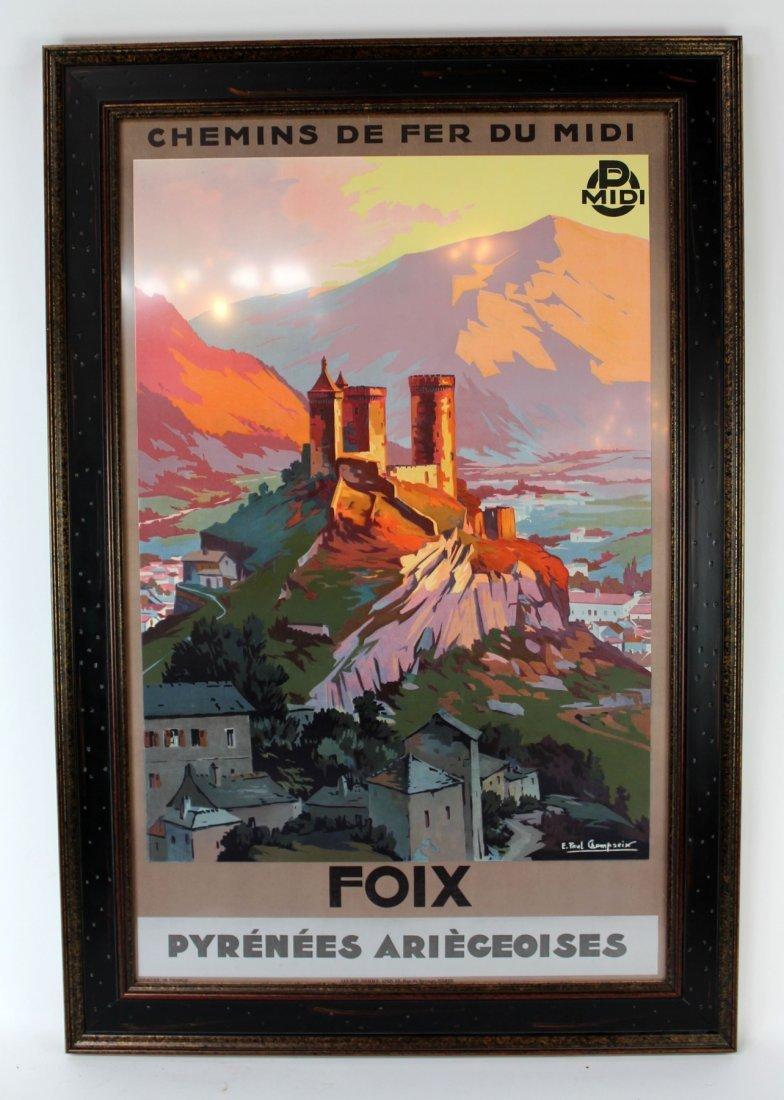 "Vintage framed ""Foix Pyrenees Ariegeoises"" poster"