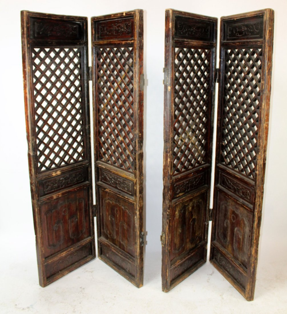 Pair of Chinese pierce carved screens