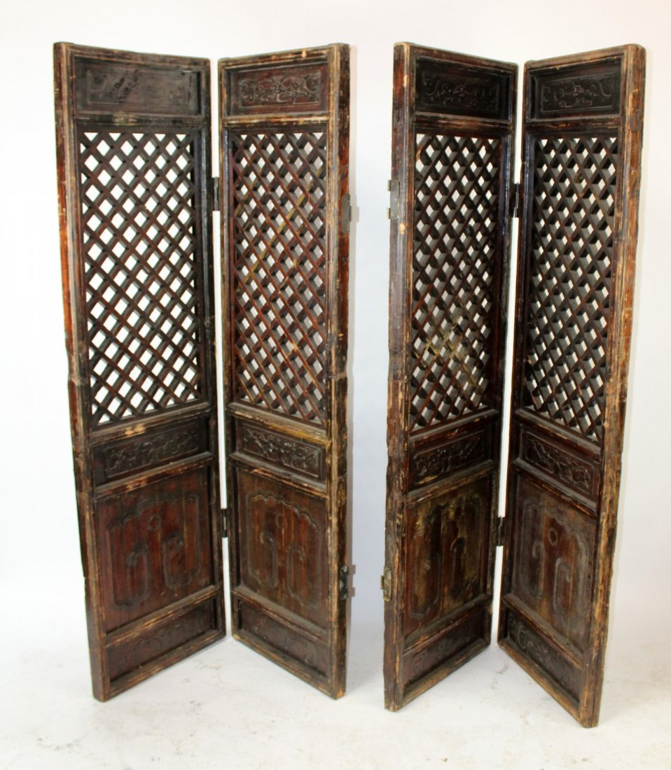 Pair of Chinese pierce carved screens - 2