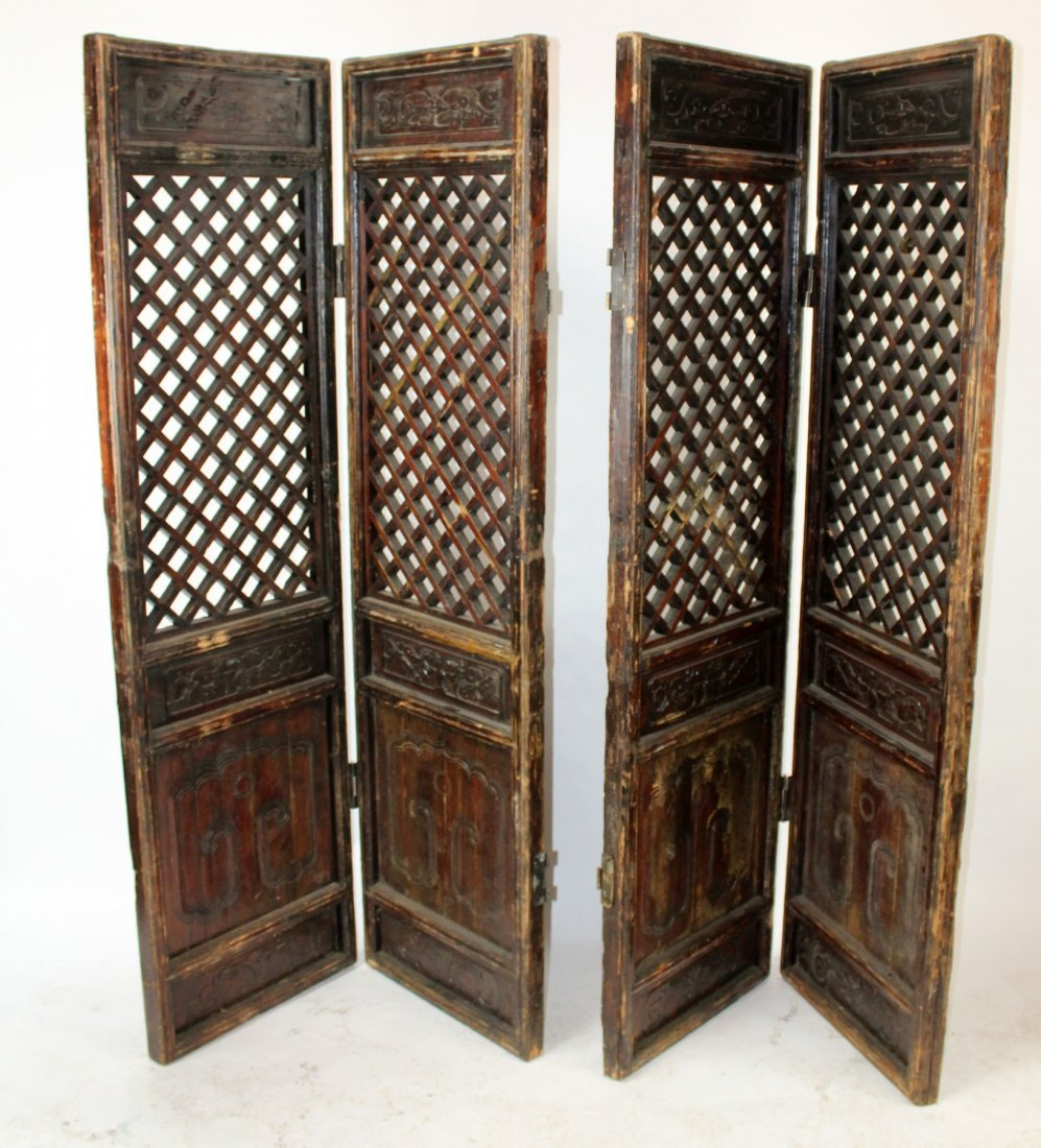 Pair of Chinese pierce carved screens - 3