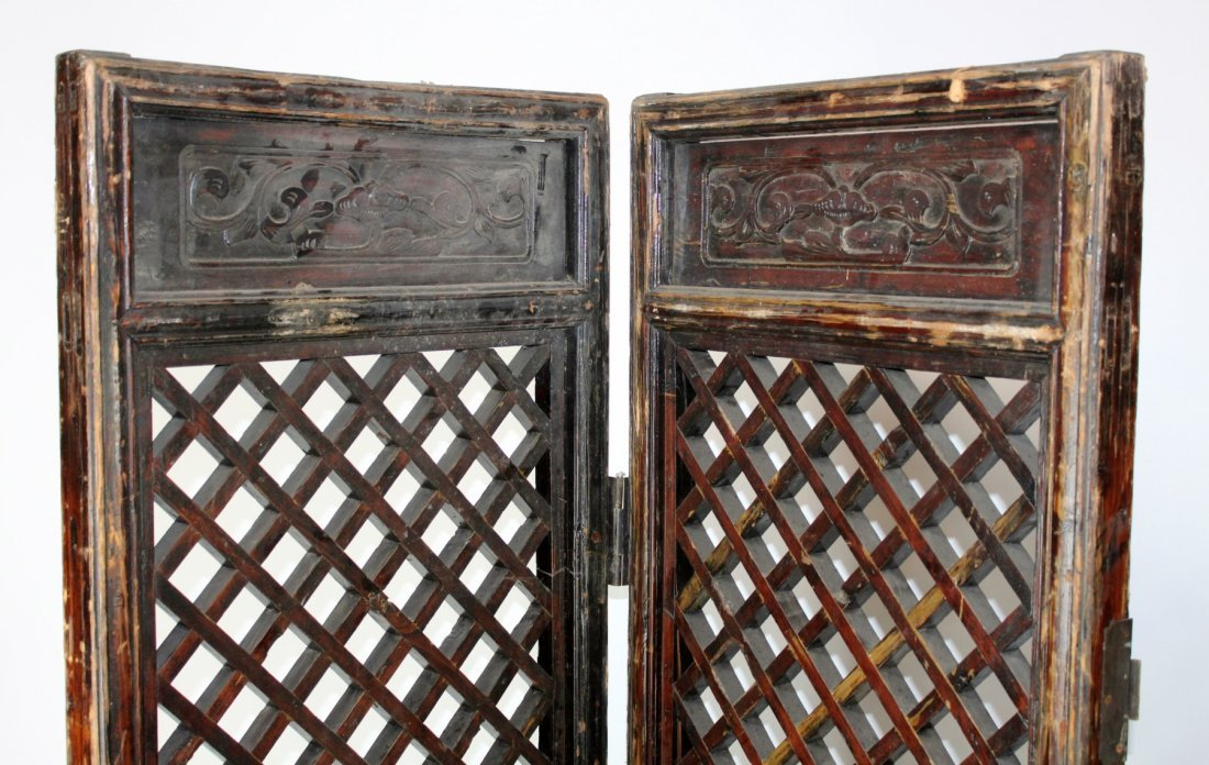 Pair of Chinese pierce carved screens - 5