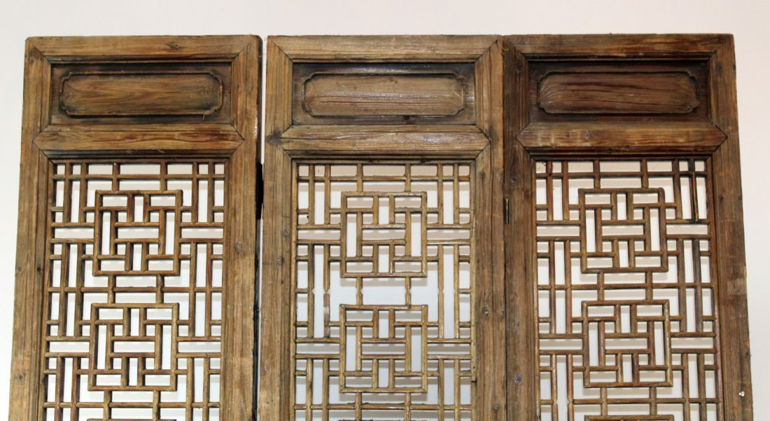 3 panel pierce carved Chinese screen - 3