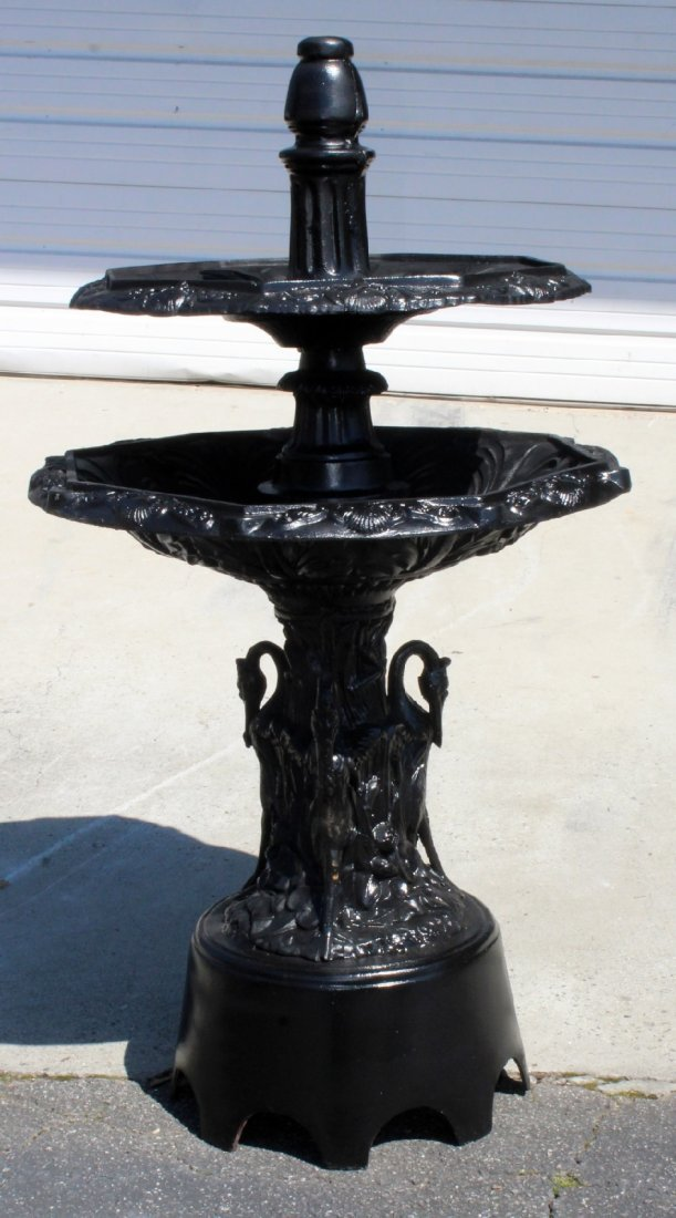 Tiered painted cast aluminum fountain