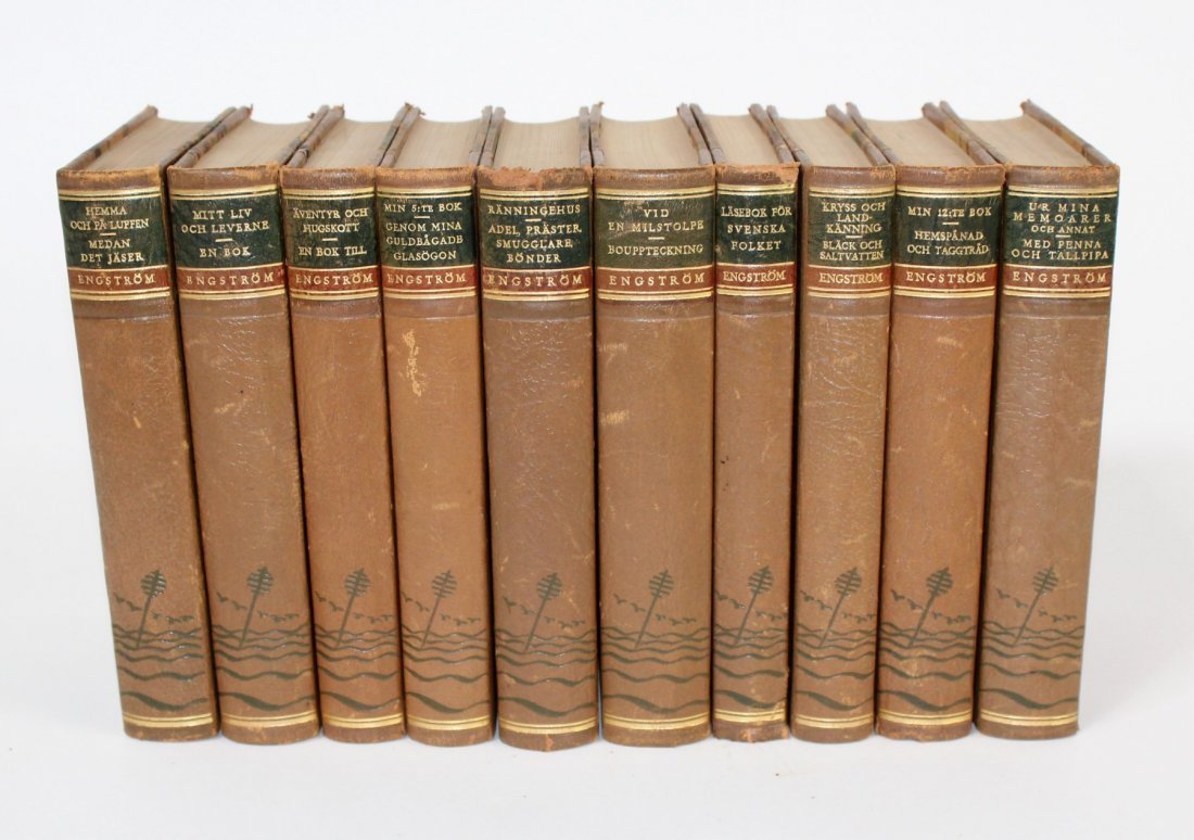 Set of 10 vintage Swedish leather bound books