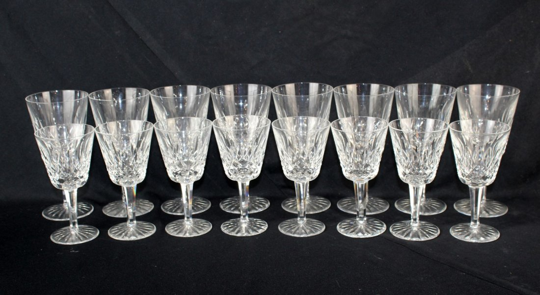 Collection of 16 Waterford Lismore crystal stemware