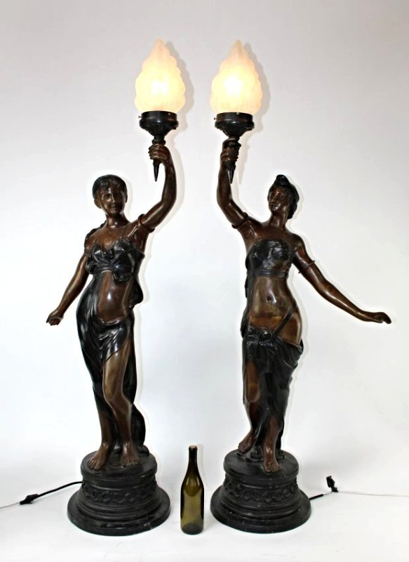 Pair bronze figural newel post lights