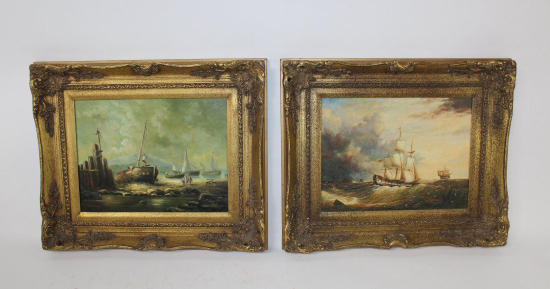 Companion pair of oil on board seascape paintings