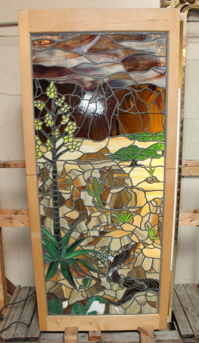 American stained & leaded glass landscape window