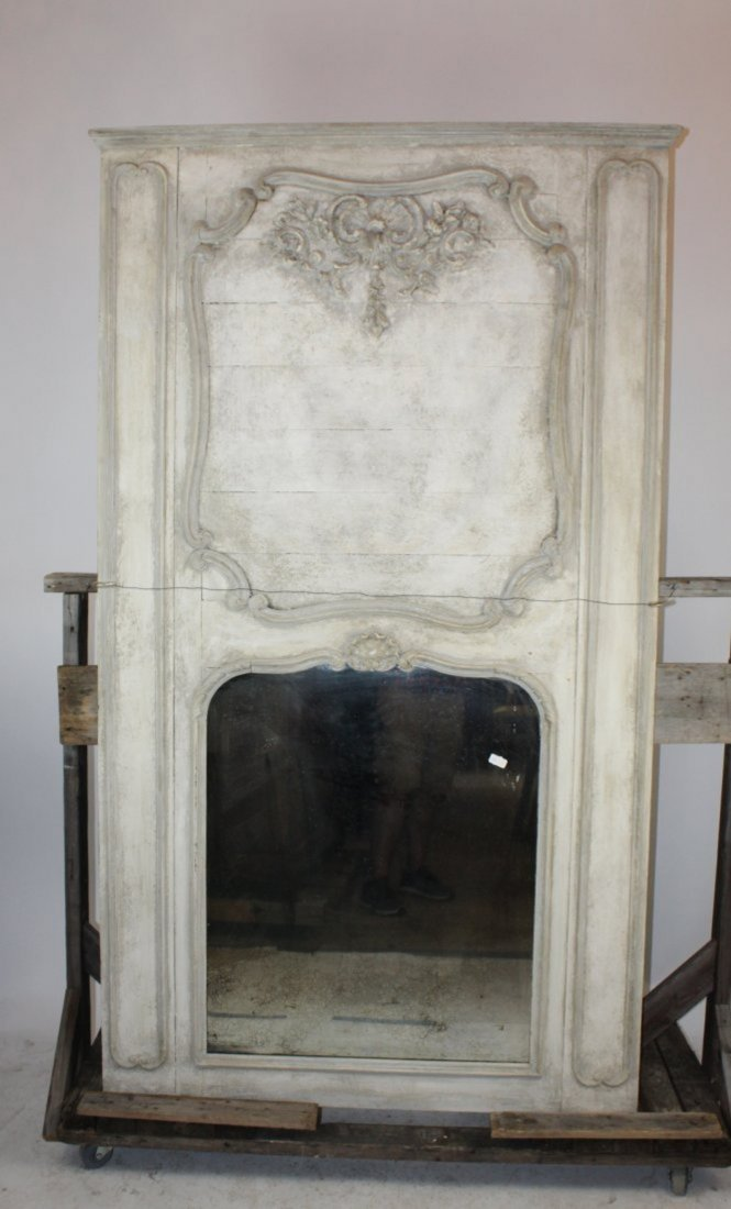 French Louis XV painted trumeau mirror