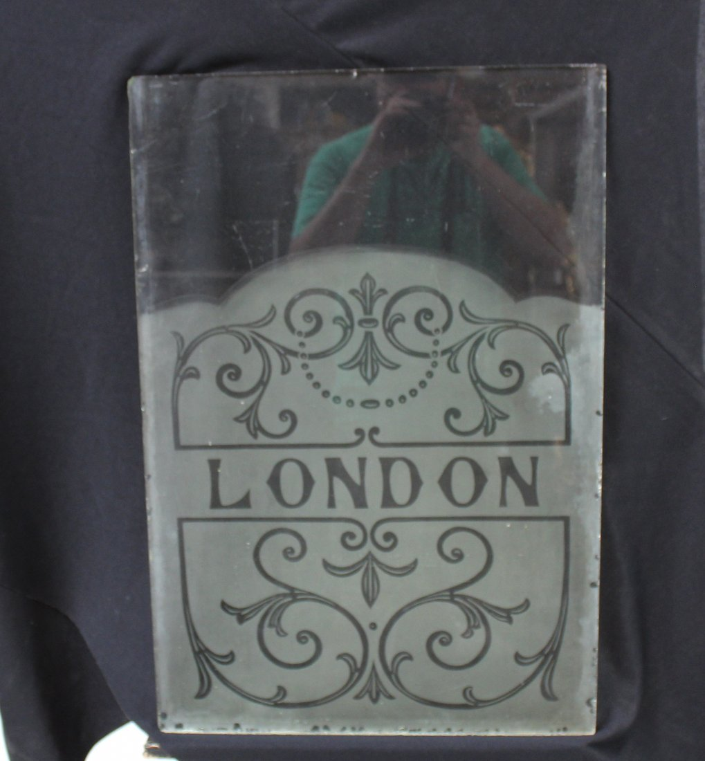 "Etched glass ""London"" panel"