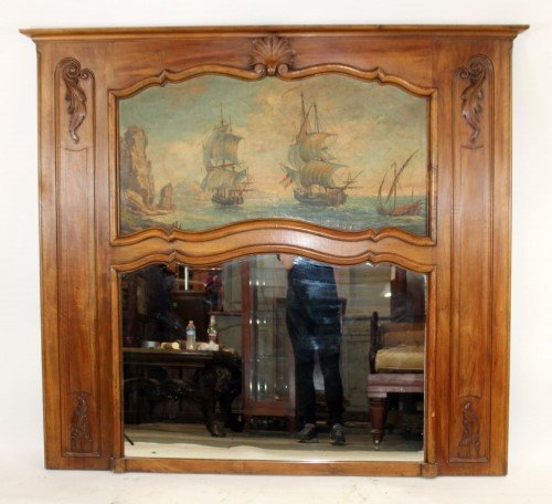 French Louis XV trumeau mirror with ship painting