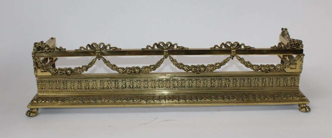 French Louis XVI polished brass fire fender