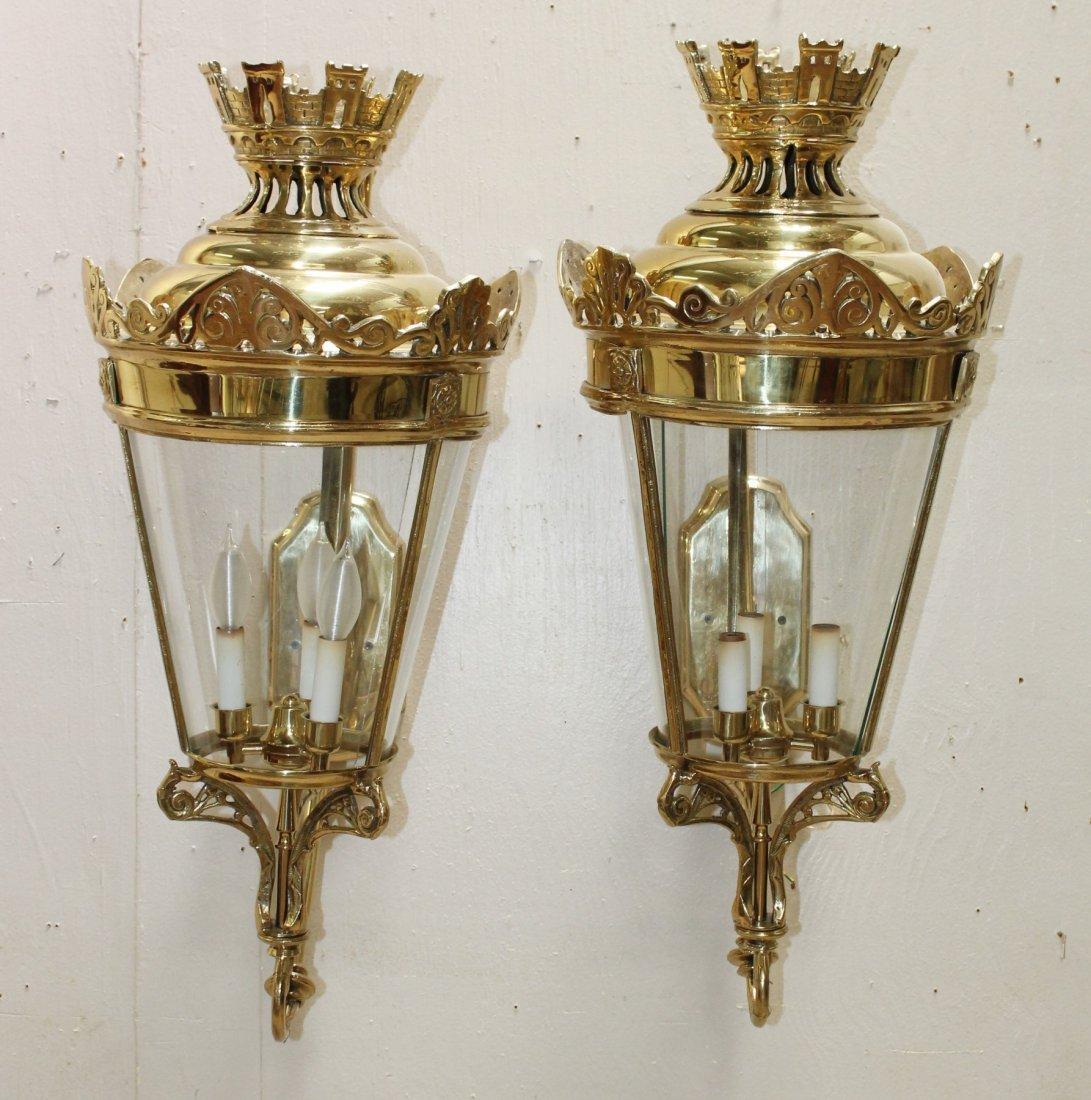 Pair of polished bronze Gothic style lanterns