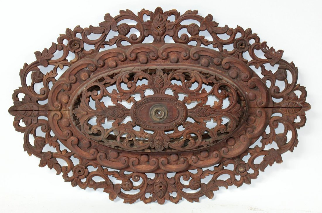 Pierce carved mahogany oval ceiling medallion