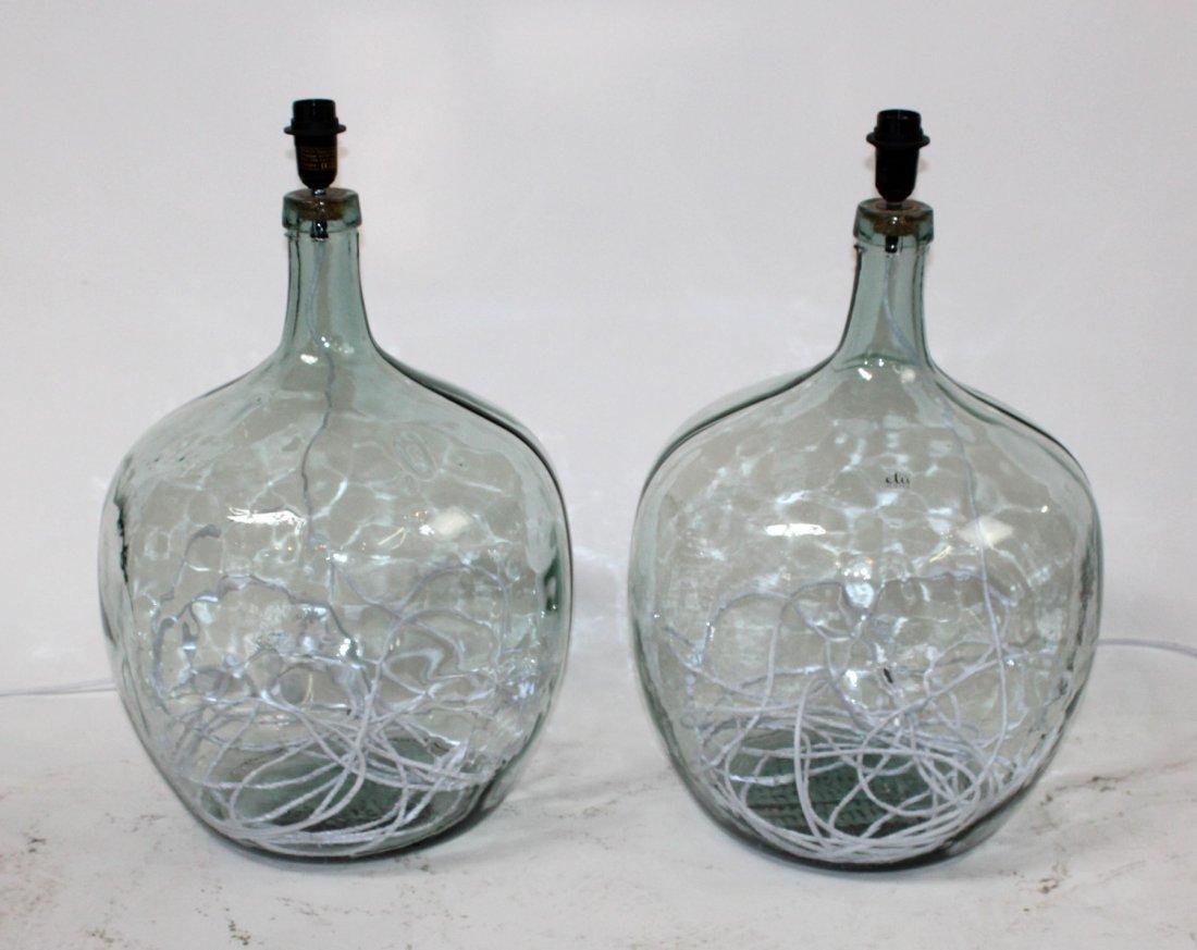 Pair of glass demijohn bottle lamps
