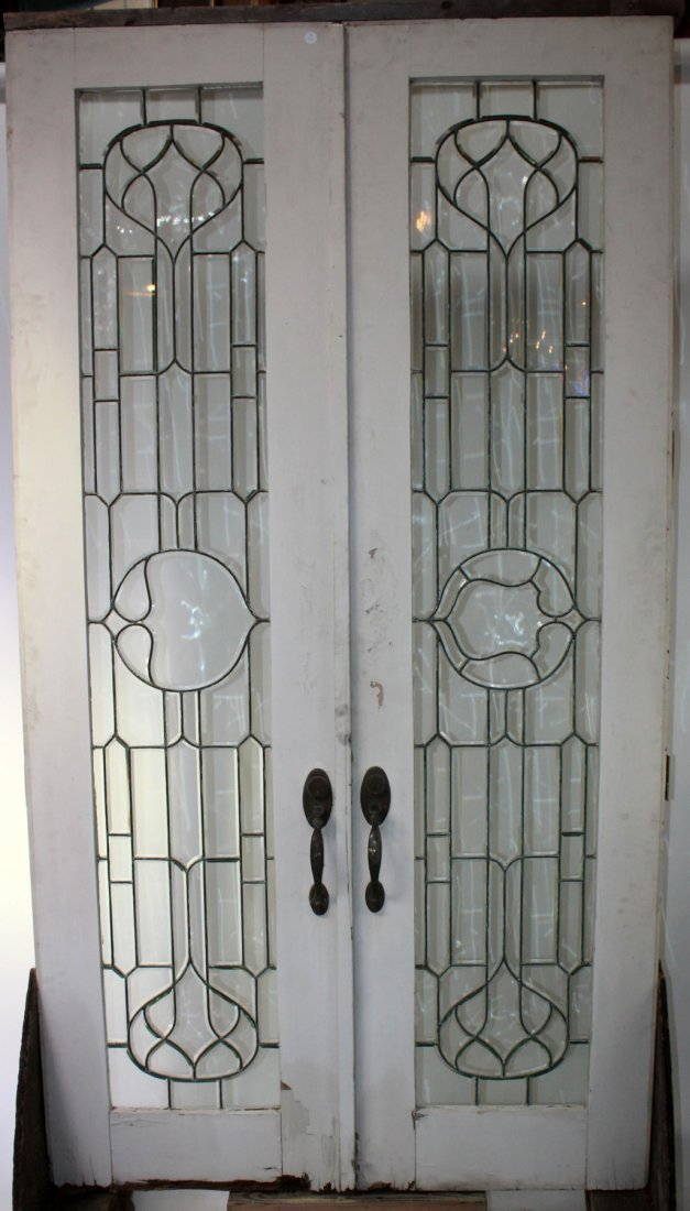 Pair of Antique American leaded glass entry doors