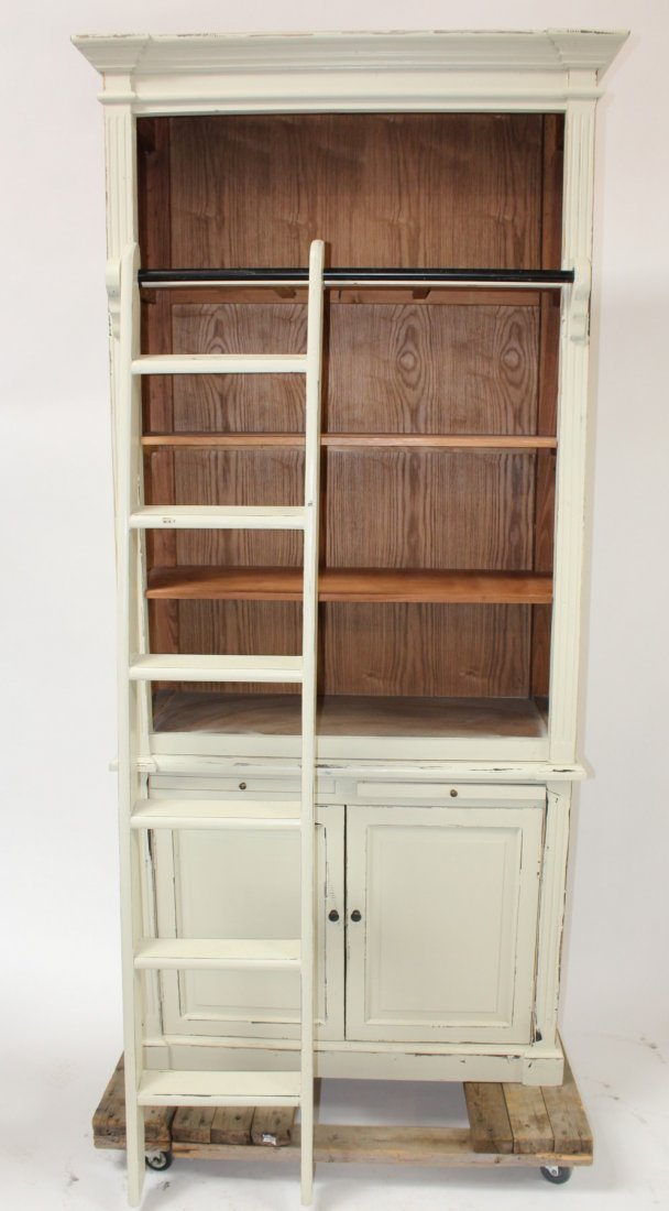 Painted Provincial style bookcase with ladder