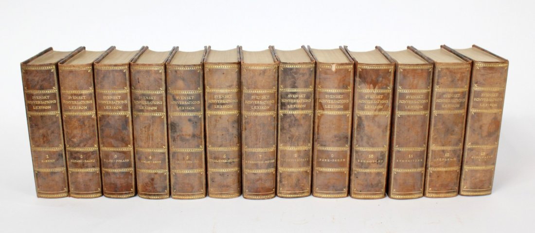 Set of Vintage Swedish leather bound books
