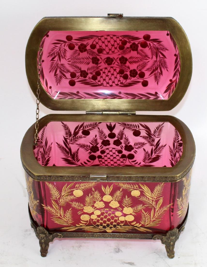 Cranberry cut crystal dresser box - 5