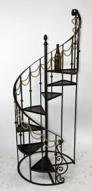 Maitland Smith 6' h iron spiral staircase form etagere