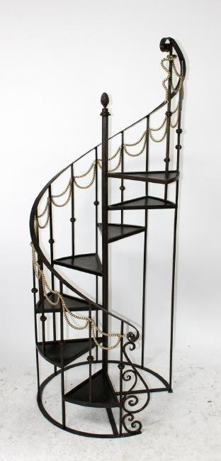 Maitland Smith 6' h iron spiral staircase form etagere - 2