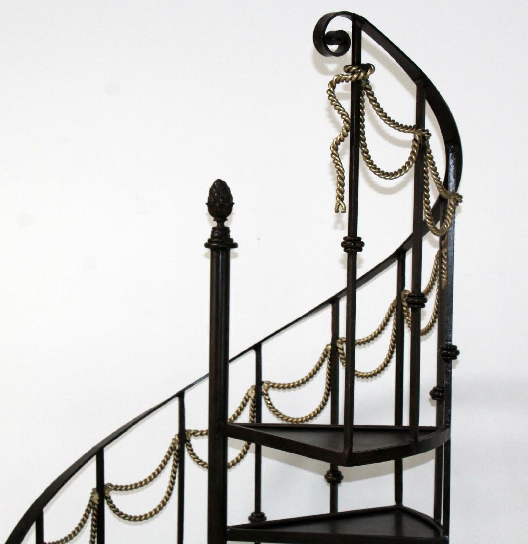 Maitland Smith 6' h iron spiral staircase form etagere - 3