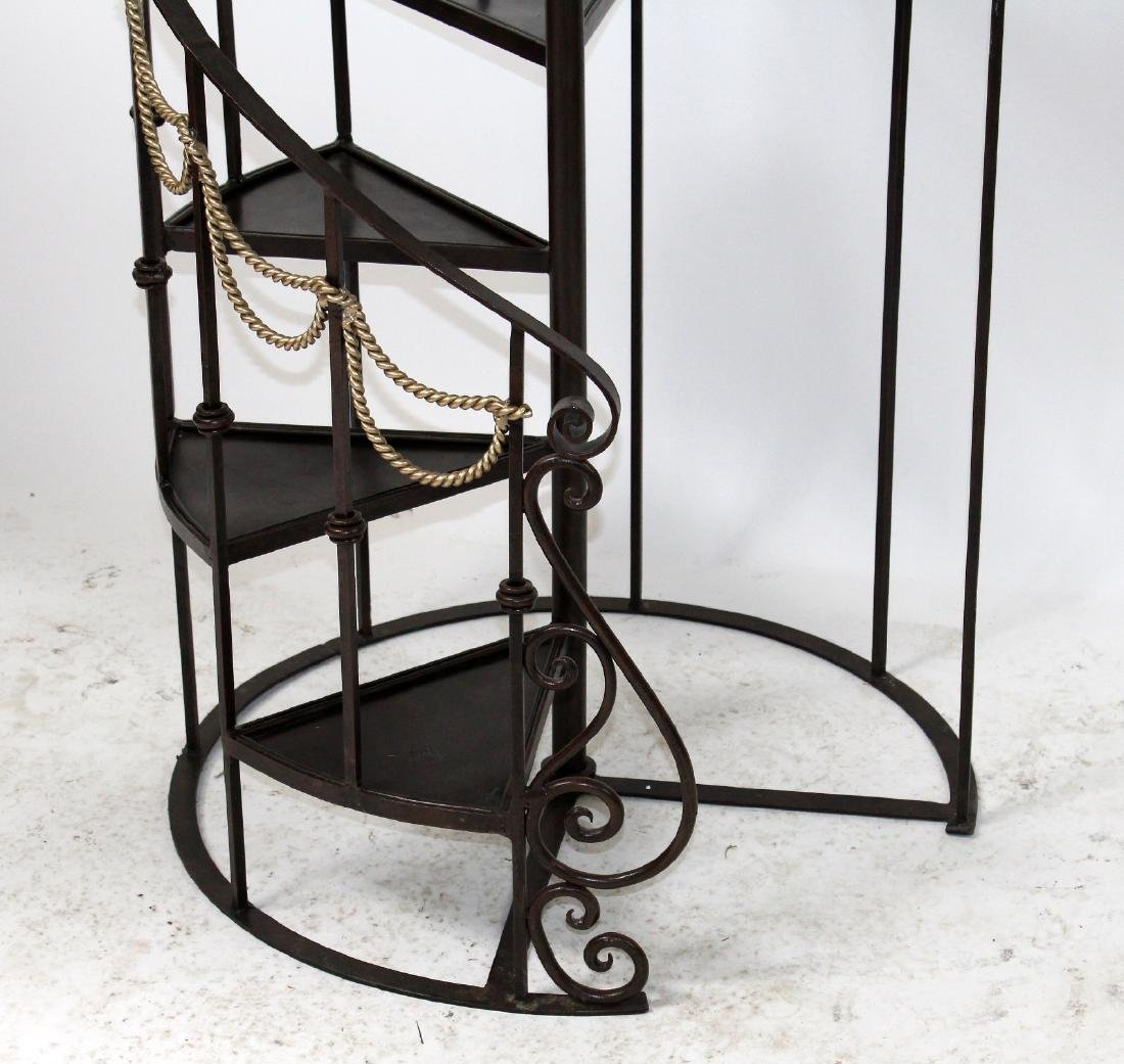 Maitland Smith 6' h iron spiral staircase form etagere - 4