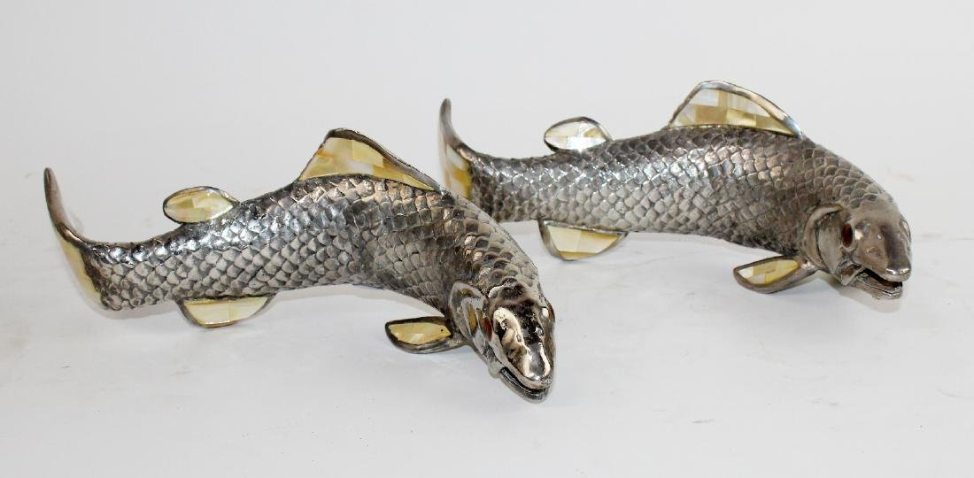 Pair of Maitland Smith pewter fish