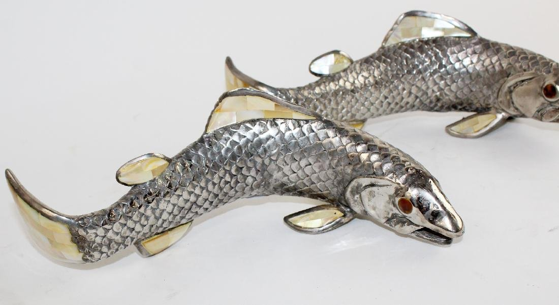 Pair of Maitland Smith pewter fish - 3