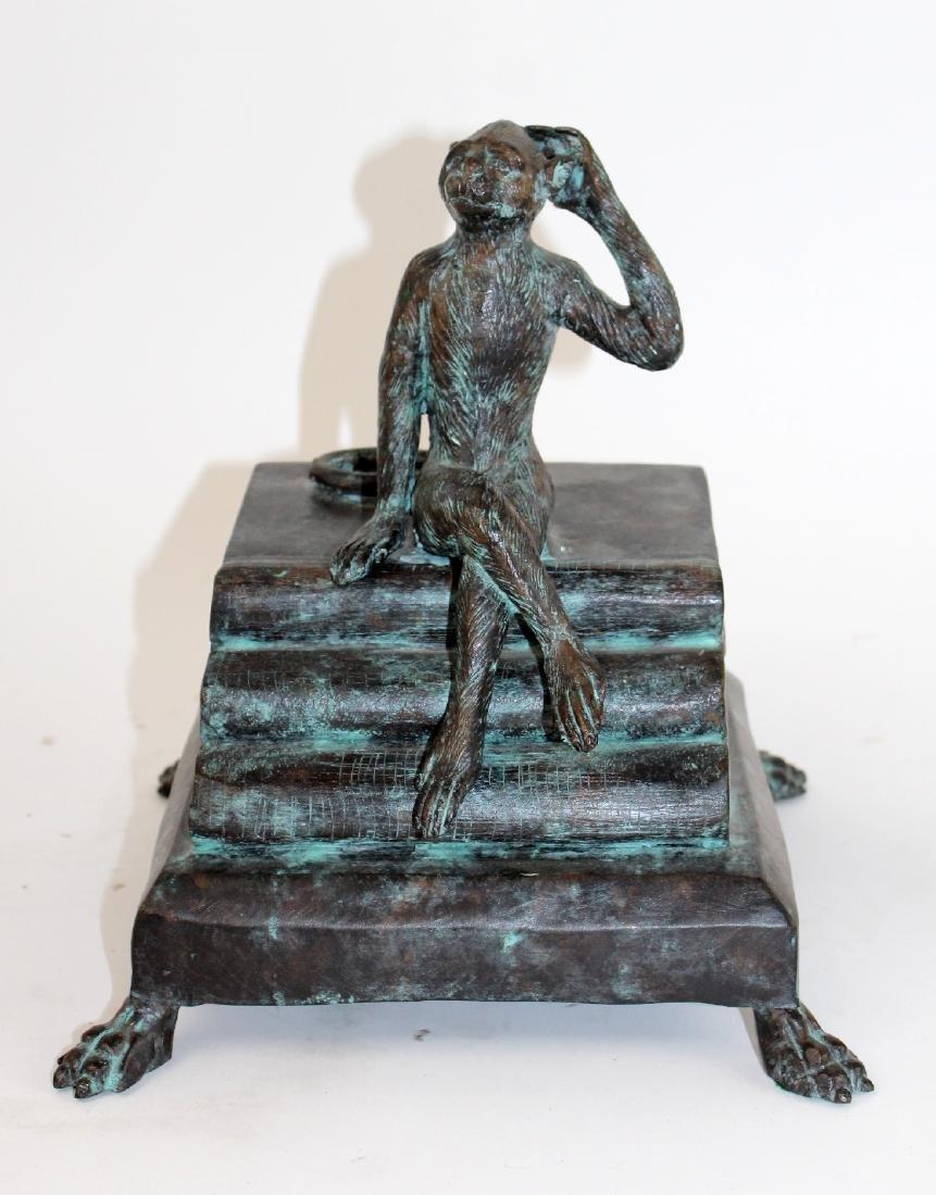 Maitland Smith bronze lidded box with monkey