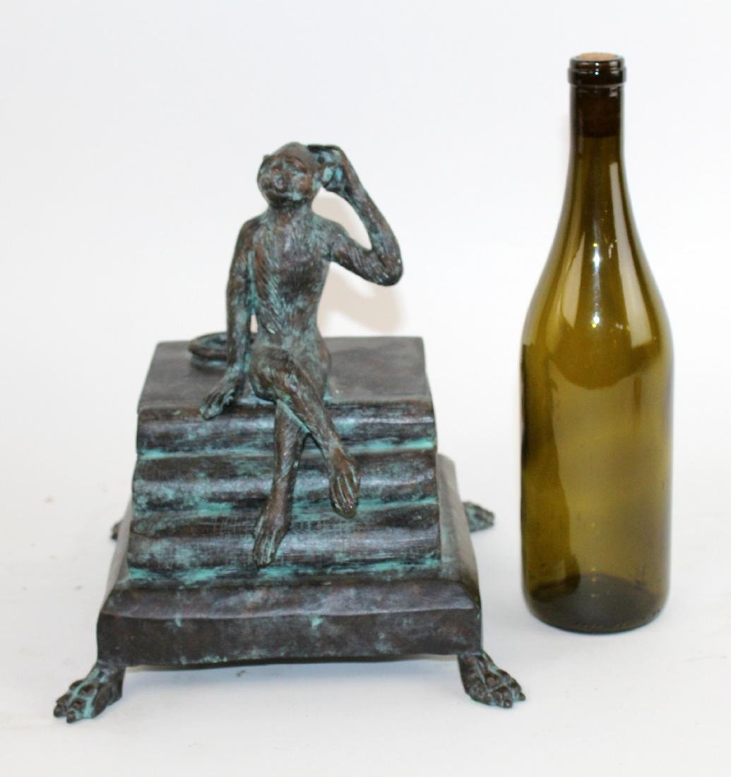 Maitland Smith bronze lidded box with monkey - 2