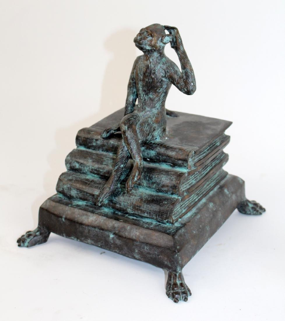 Maitland Smith bronze lidded box with monkey - 3