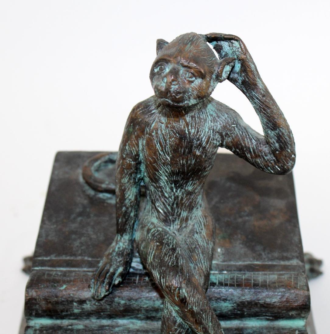 Maitland Smith bronze lidded box with monkey - 4