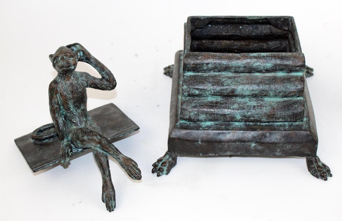 Maitland Smith bronze lidded box with monkey - 5
