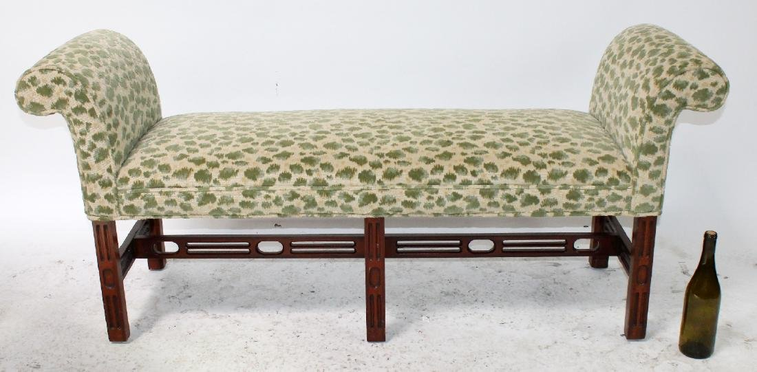 Chippendale style rolled arm upholstered bench - 4