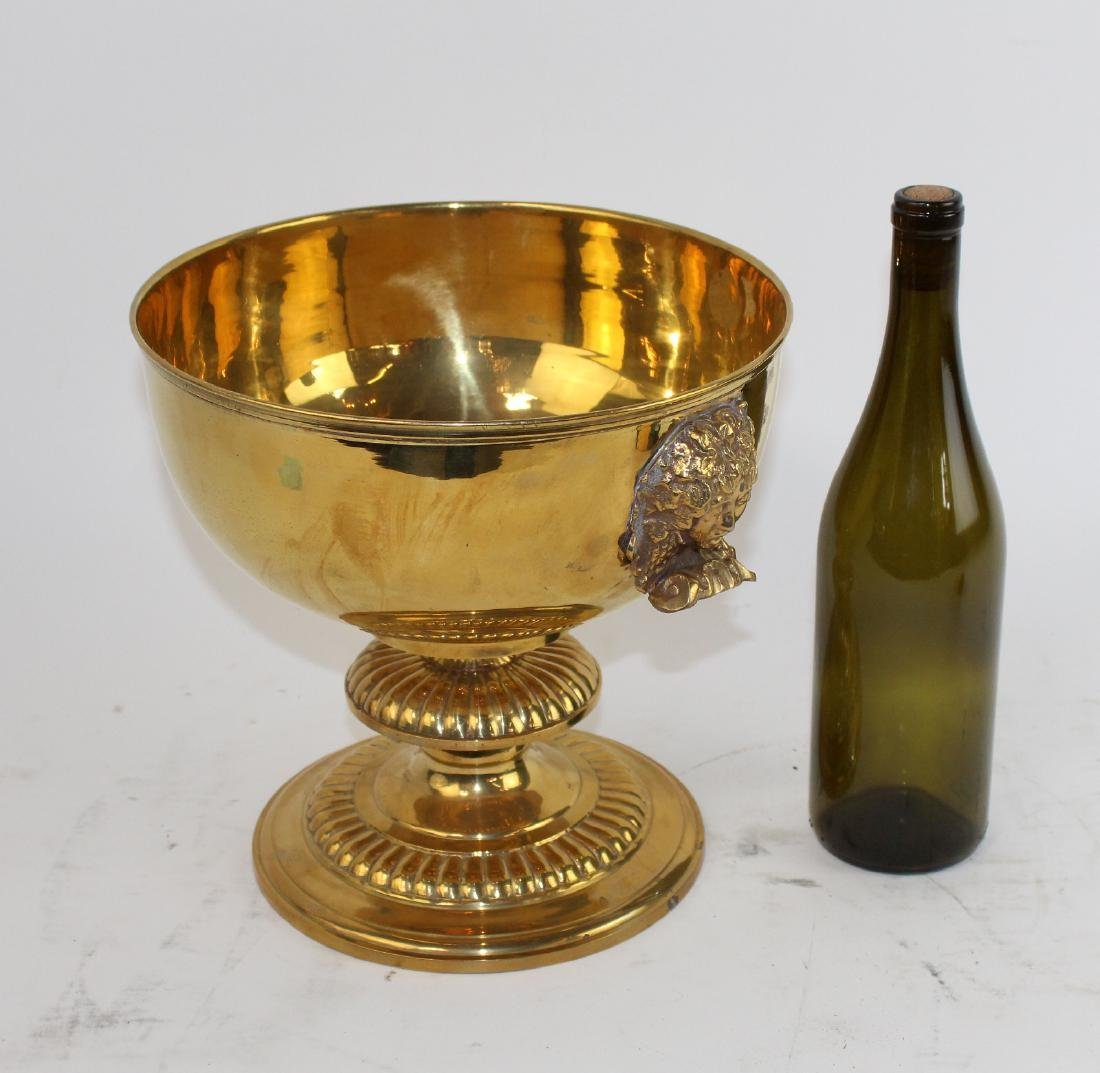 Polished brass footed compote with Medusa heads - 2