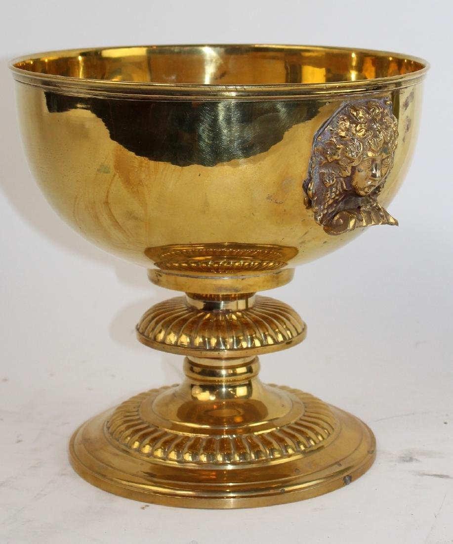Polished brass footed compote with Medusa heads - 3