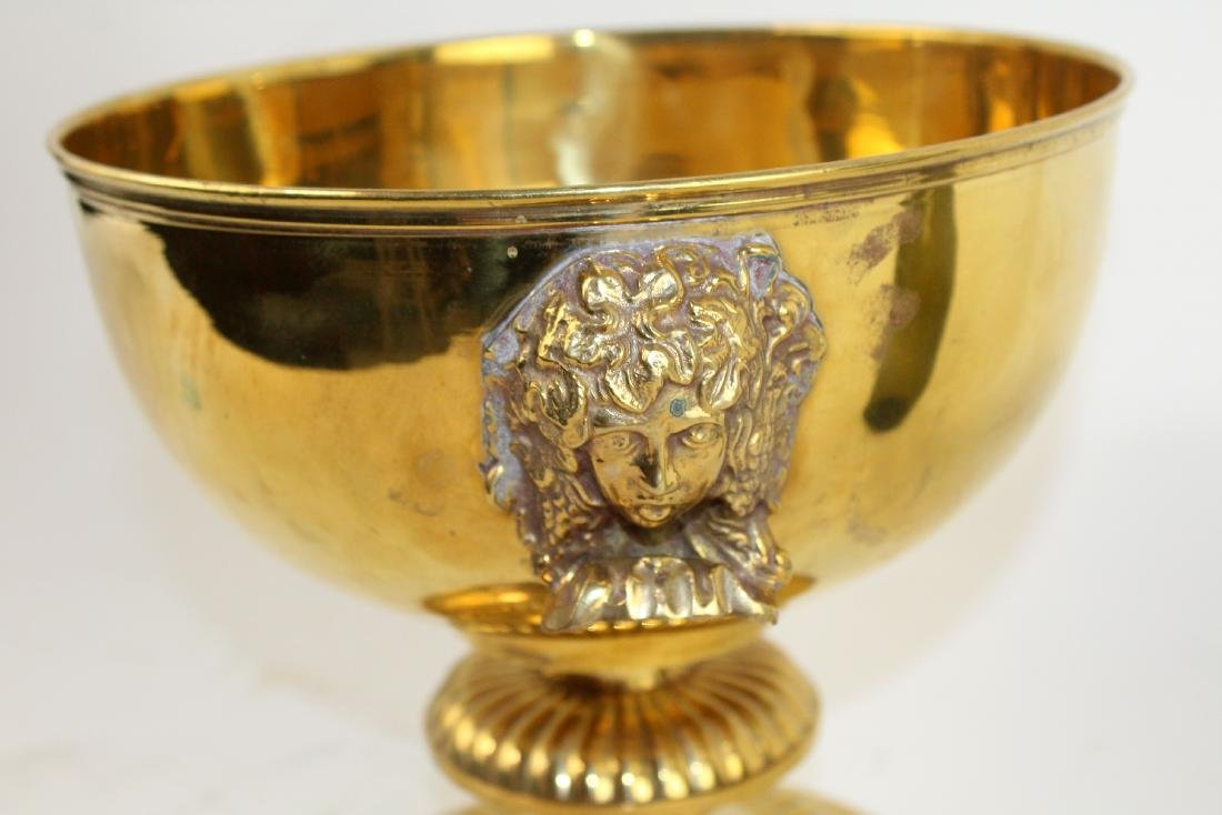 Polished brass footed compote with Medusa heads - 4