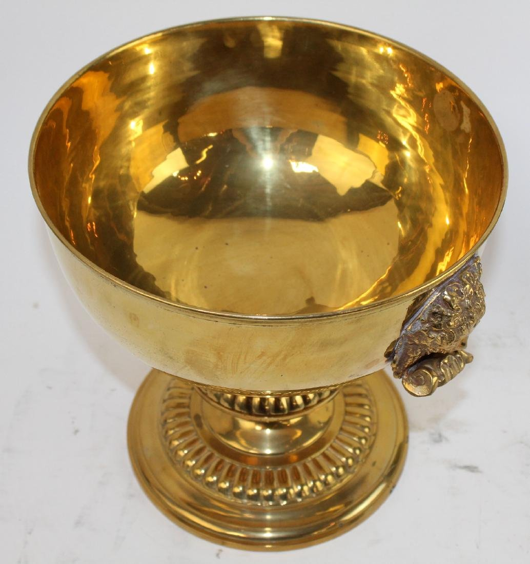 Polished brass footed compote with Medusa heads - 5